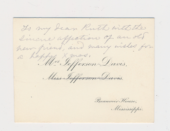Ruth Burgess notecard from Varina Jefferson-Davis