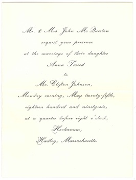 Clifton Johnson and Anna McQueston's wedding invitation, 1896