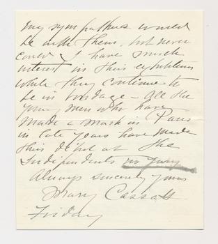 Ruth Burgess letter from Mary Cassatt