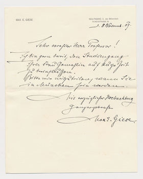 John Burgess letter from Max E. Giese