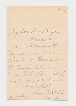 Ruth Burgess letter written by secretary of Woman's Art Club of New York