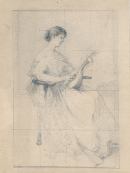 Ruth Burgess study sketch of woman with a mandolin