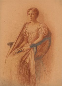 Ruth Burgess crayon sketch of woman seated in chair