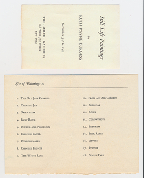 Ruth Burgess exhibition pamphlet from Milch Gallery