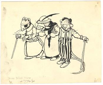 Illustration of Mother Goose rhyme <em>Three Blind Mice</em>