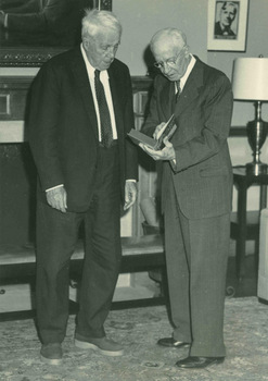Robert Frost and Charles R. Green in the Jones Library in Amherst