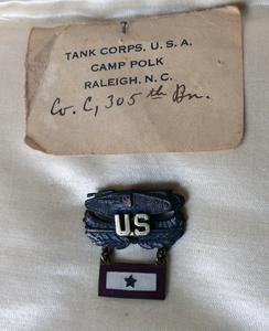 Minot Jones's Tank Corps pin
